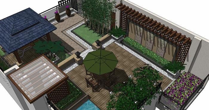居住住宅中式禪意日式精致庭院景觀設計(7)