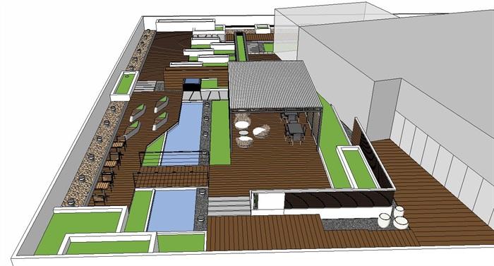居住住宅中式禪意日式精致庭院景觀設計(8)