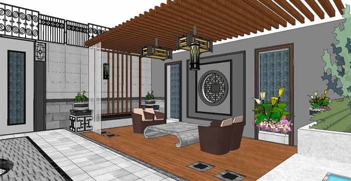 居住住宅中式禪意日式精致庭院景觀設計(9)