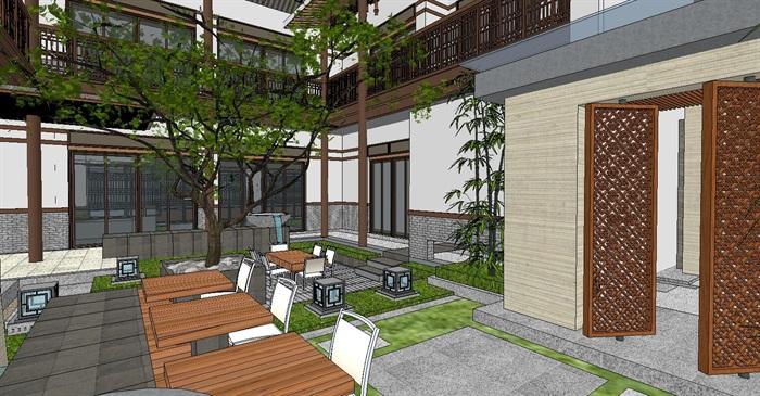 居住住宅中式禪意日式精致庭院景觀設計(10)