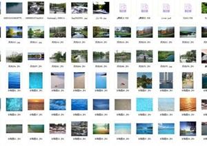 山、水、湖、瀑布、喷泉