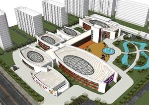 建筑学现代风格幼儿园建筑设计001