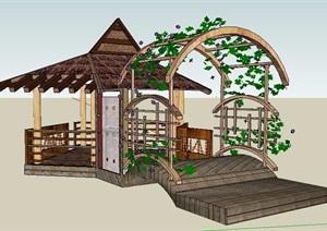 东南亚风格精美凉亭及花架设计SU(草图大师)模型
