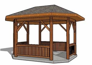 中式木凉亭单体素材SU(草图大师)模型