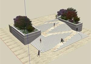 台阶景观详细设计SU(草图大师)模型