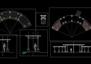 长廊花架素材cad方案