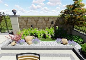 简欧风格庭院,假山水池、景墙