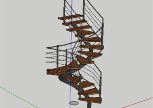 木制旋转楼梯设计SU(草图大师)模型