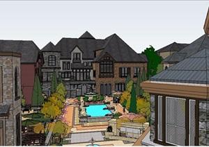 欧式风格精美小镇住宅建筑及景观设计SU(草图大师)模型