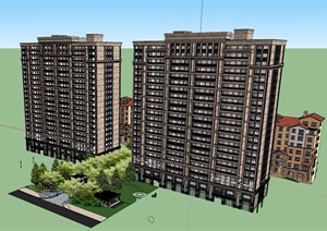 混搭风格住宅详细小区建筑SU(草图大师)模型