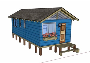英式单层居住建筑SU(草图大师)模型