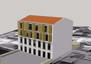 多层现代居住建筑SU(草图大师)模型