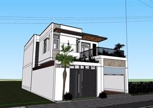 路边私人住宅别墅设计SU(草图大师)模型