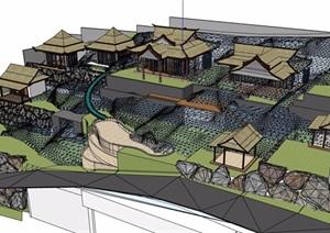 东南亚风格休闲景区设计SU(草图大师)模型