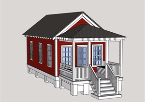 英式风格单层居住建筑SU(草图大师)模型