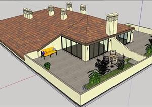 某欧式别墅屋顶设计SU(草图大师)模型