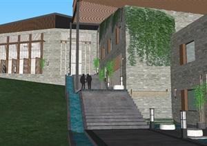一个新中式山地度假酒店建筑方案SU(草图大师)模型