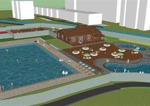 现代水上乐园休闲区景观设计方案SU模型