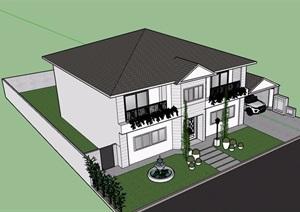 美式多层住宅楼设计SU(草图大师)模型