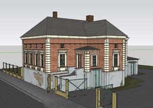 欧式风格多层居住建筑SU(草图大师)模型