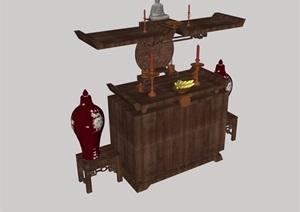 某古典中式风格装饰摆件柜子设计SU(草图大师)模型