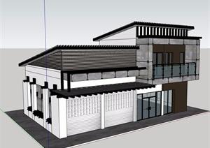 现代风格多层别墅建筑模型