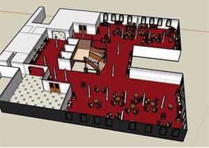某餐厅空间设计SU(草图大师)模型