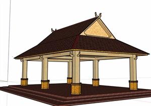 东南亚风格详细完整的凉亭设计SU(草图大师)模型
