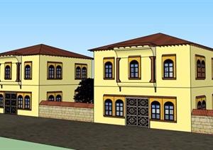 混搭风格二层别墅建筑设计SU(草图大师)模型