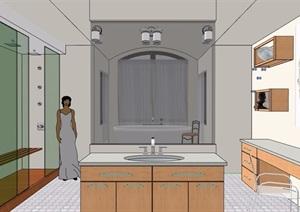 某现代风格住宅卫生间室内设计SU(草图大师)模型