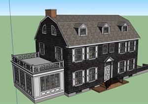 美式风格自建别墅设计SU(草图大师)模型