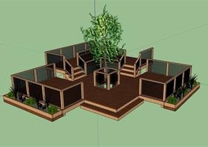 某木质栈道素材设计SU(草图大师)模型