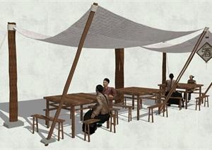 中国古代小吃摊人物素材SU(草图大师)模型