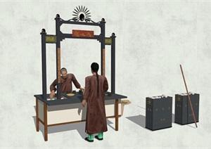 中国古代老街商铺小吃摊人物设计素材SU(草图大师)模型