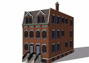 美式风格独特多层住宅楼SU(草图大师)模型
