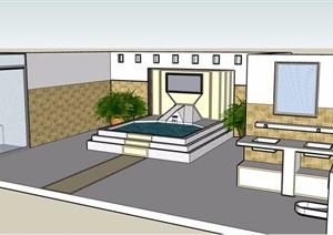 某现代风格详细的浴室室内空间SU(草图大师)模型