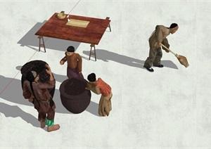 中国古代人物素材SU(草图大师)模型2
