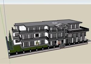 三层美式风格住宅建筑设计SU(草图大师)模型