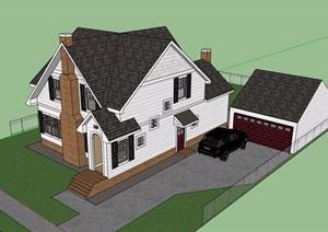 私人英式自建别墅设计SU(草图大师)模型