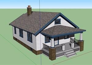 美式单层详细的住宅建筑SU(草图大师)模型