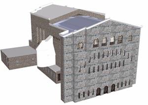 美式风格详细的住宅多层建筑SU(草图大师)模型