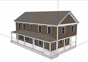 美式风格详细多层民居住宅SU(草图大师)模型