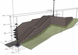 楼梯台阶素材设计SU(草图大师)模型