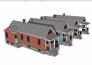 美式风格小区住宅别墅设计SU(草图大师)模型