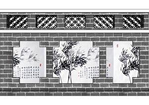 红色旅游文化景墙SU(草图大师)模型