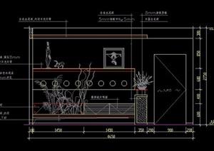 餐厅装饰墙及酒架造型CAD立面图