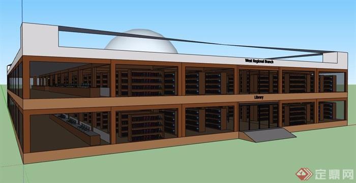中式图书馆建筑及室内设计su模型