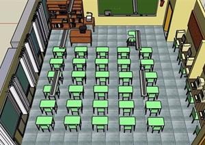 现代风格教室室内设计SU(草图大师)模型