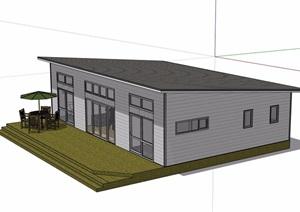 美式风格单层住宅屋设计SU(草图大师)模型