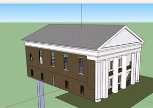 美式两层住宅楼建筑SU(草图大师)模型